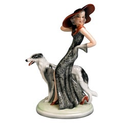Goldscheider Figurine 'Masquerade' Lady with Barsoi by Claire Weiss, circa 1939