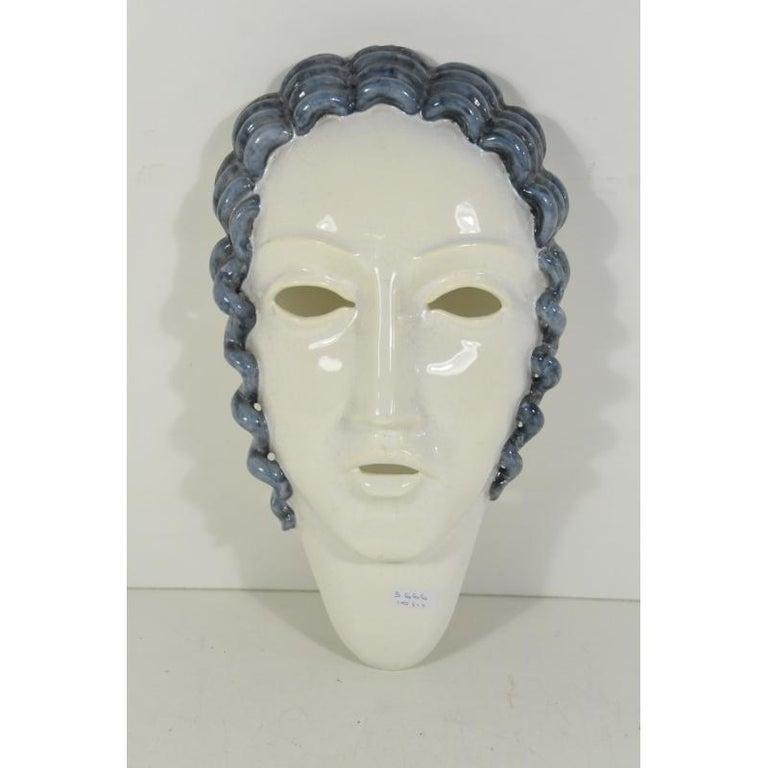 Slovakian Goldscheider Inspired  Ceramic Stylized Art Deco Mask For Sale