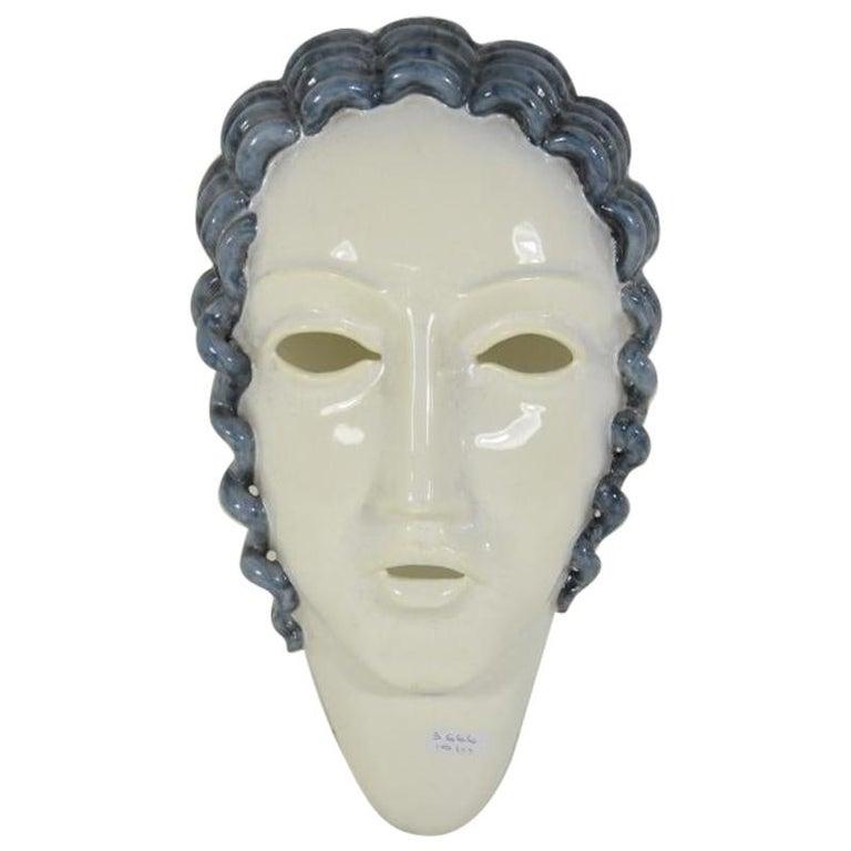 Goldscheider Inspired  Ceramic Stylized Art Deco Mask For Sale