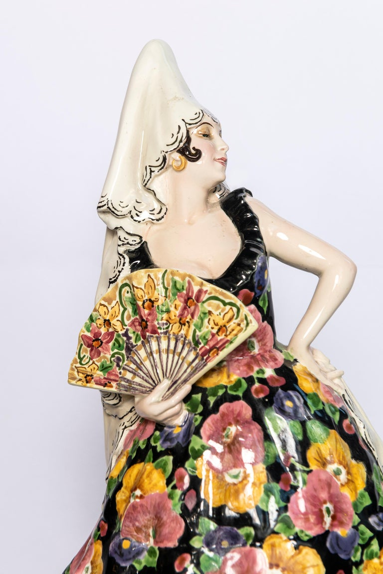 Goldscheider Spanish dancer with a fan signed by Joseph Lorenzl, Austria, 1922.