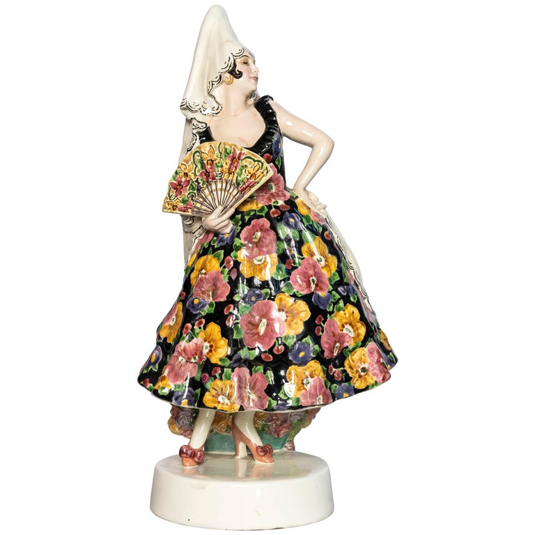 Goldscheider Spanish Dancer with a Fan Signed by Joseph Lorenzl, Austria, 1922 For Sale