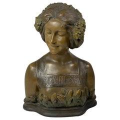 "Goldscheider Terracotta Art Noveau Bust ""Jeunesse ""By Ezio Ceccarelli"