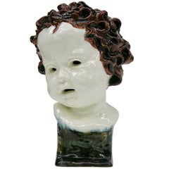 Goldscheider Unique Real Size Child Head Sculpture, Signed and Dated from 1923