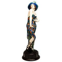 Goldscheider Vienna Art Deco Dancer with Hat in a Pose, Josef Lorenzl circa 1925