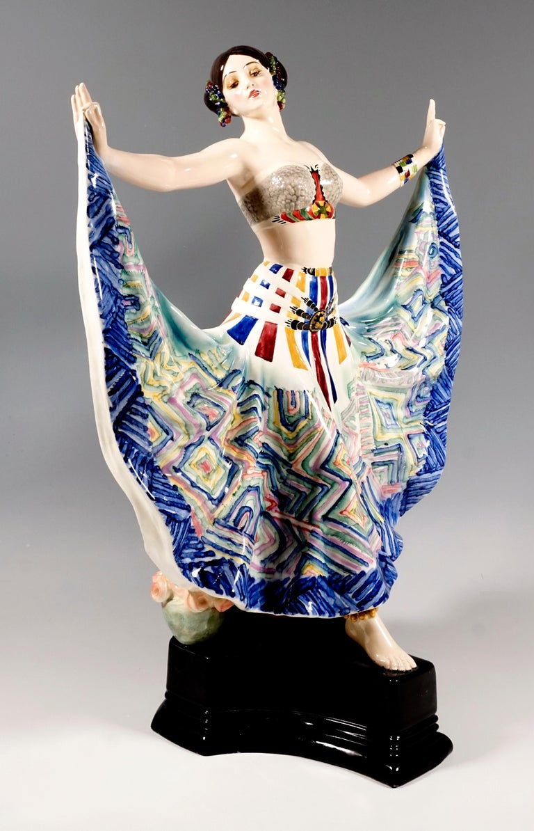 Very wanted Art Deco Goldscheider ceramic figure of the 1920s. Depiction of the dancer Ruth Saint Denis (1877/79 - 1968, actually Ruth Dennis, 'Miss Ruth') during her dance 'Radha'- Dance of the Five Senses, first performed in 1906. The dancer