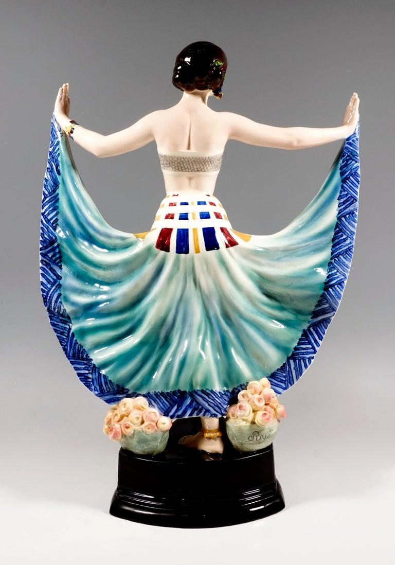 Austrian Goldscheider Vienna Art Deco Figure, 'Ruth' Dancer in Oriental Costume by Rosé For Sale