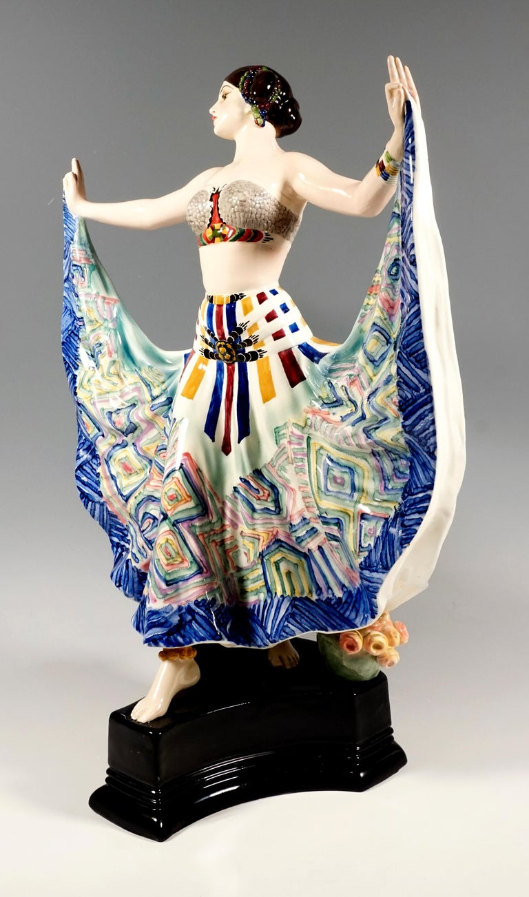 Hand-Crafted Goldscheider Vienna Art Deco Figure, 'Ruth' Dancer in Oriental Costume by Rosé For Sale