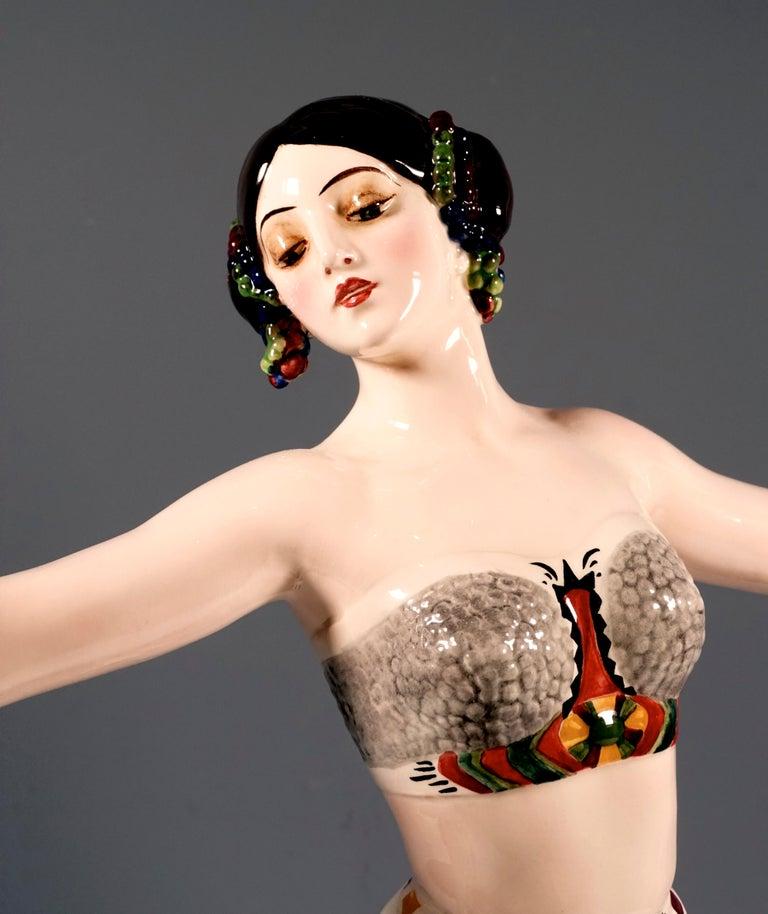 Goldscheider Vienna Art Deco Figure, 'Ruth' Dancer in Oriental Costume by Rosé In Excellent Condition For Sale In Vienna, AT