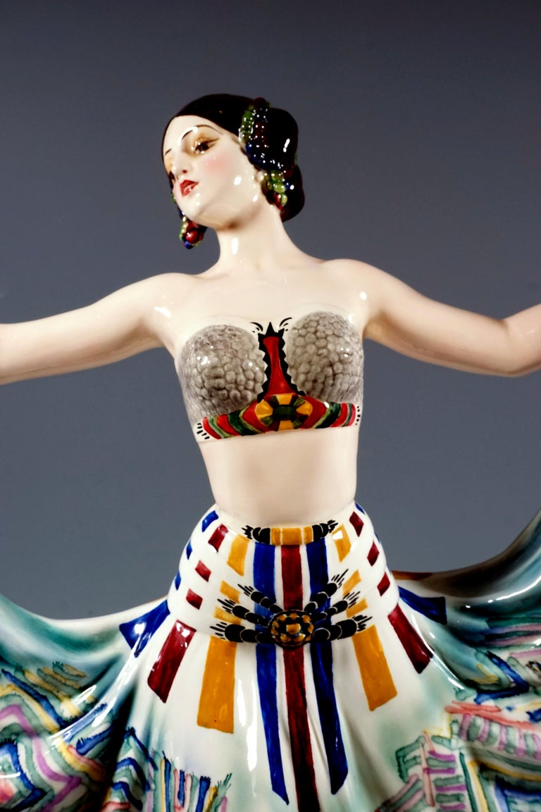 Early 20th Century Goldscheider Vienna Art Deco Figure, 'Ruth' Dancer in Oriental Costume by Rosé For Sale