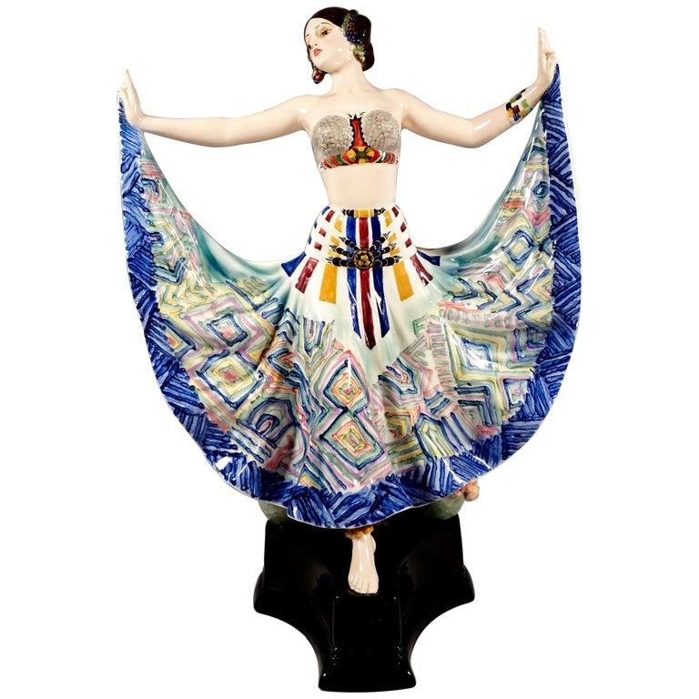 Goldscheider Vienna Art Deco Figure, 'Ruth' Dancer in Oriental Costume by Rosé For Sale