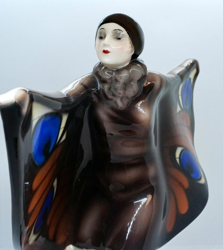 Austrian Goldscheider Vienna Art-Déco Figure 'The Captured Bird' Josef Lorenzl For Sale