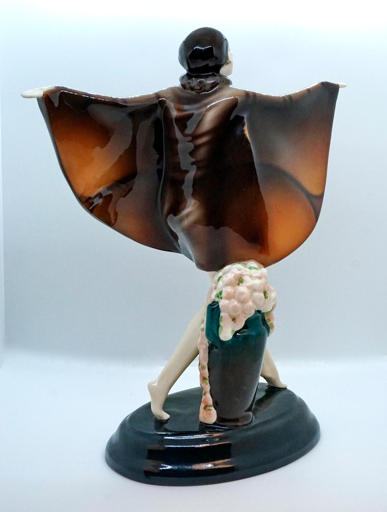 Ceramic Goldscheider Vienna Art-Déco Figure 'The Captured Bird' Josef Lorenzl For Sale