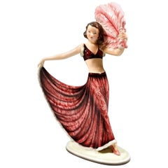 Goldscheider Vienna Art Deco Figurine 'Fan Dance' by Josef Lorenzl, circa 1938