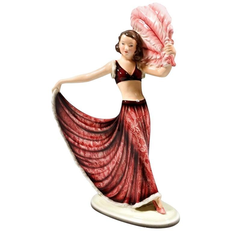 Goldscheider Vienna Art Deco Figurine 'Fan Dance' by Josef Lorenzl, circa 1938 For Sale