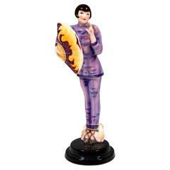 Goldscheider Vienna Art Deco Figurine 'Fan Lady', by Josef Lorenzl, ca 1930