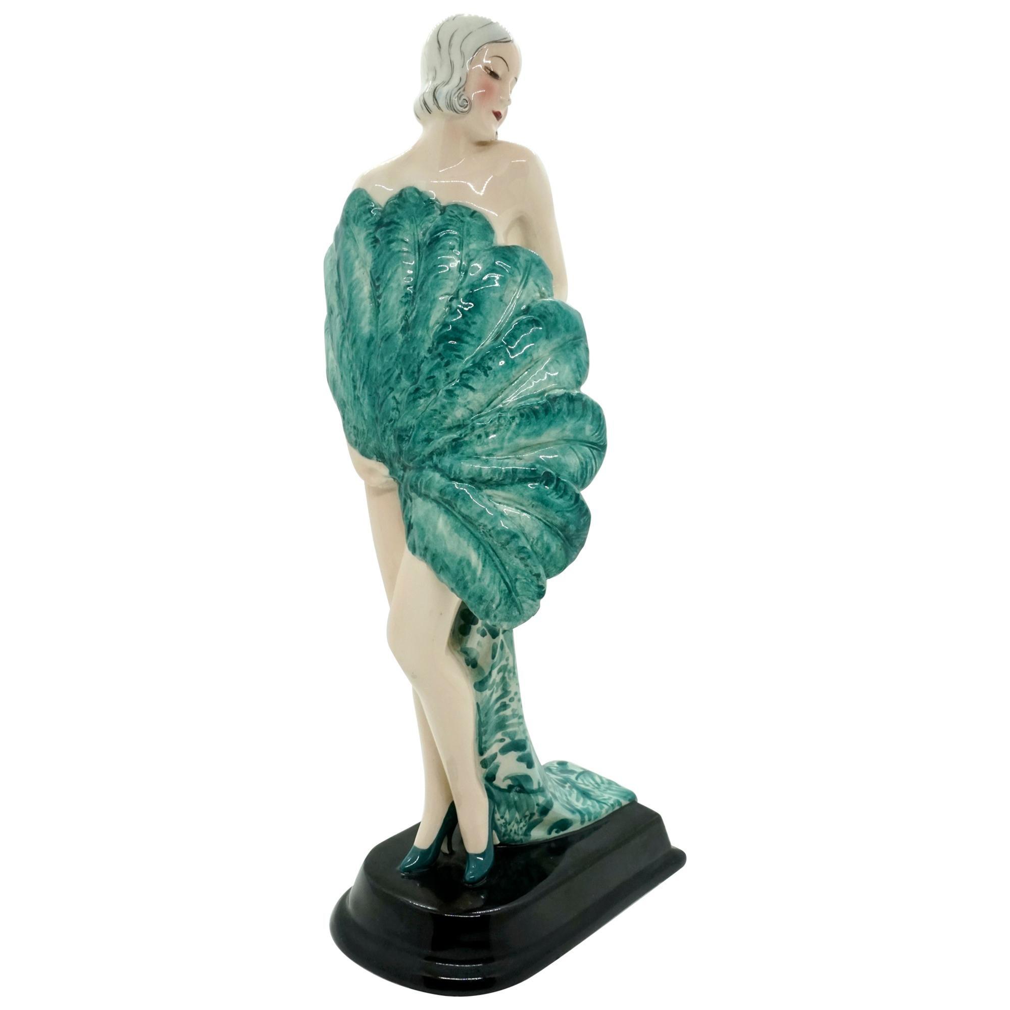 Goldscheider Vienna Art Deco Figurine 'Fan Lady' by Stephan Dakon, circa 1930