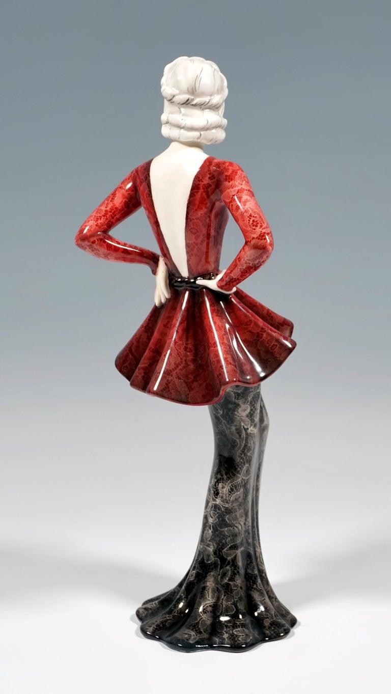 Austrian Goldscheider Vienna Art Deco Figurine 'Fashion Lady' by Claire Weiss, ca 1937 For Sale