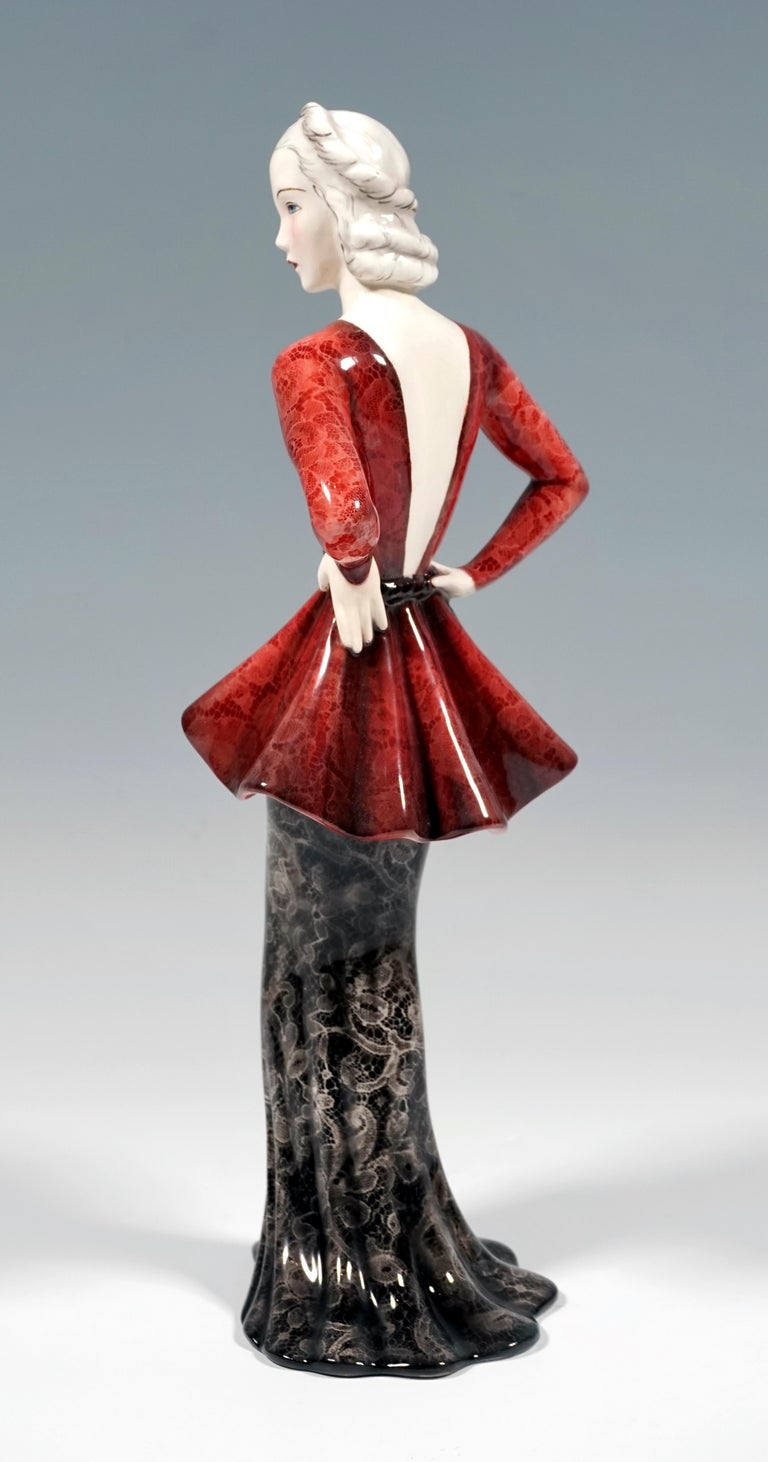 Hand-Painted Goldscheider Vienna Art Deco Figurine 'Fashion Lady' by Claire Weiss, ca 1937 For Sale