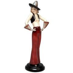 Goldscheider Vienna Art Deco Figurine Girl with Sombrero Hat Dakon 6912