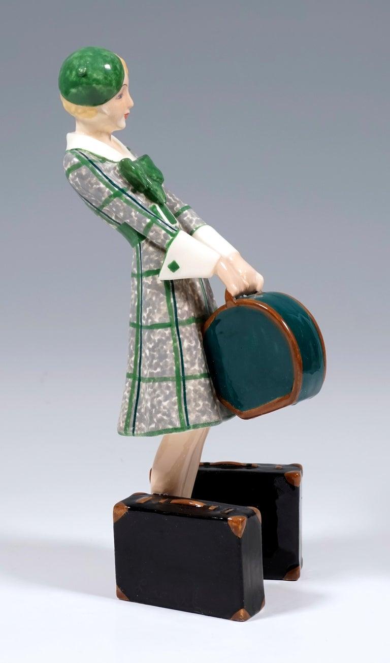 Austrian Goldscheider Vienna Art Deco Figurine 'Traveler', by Josef Lorenzl, ca 1935