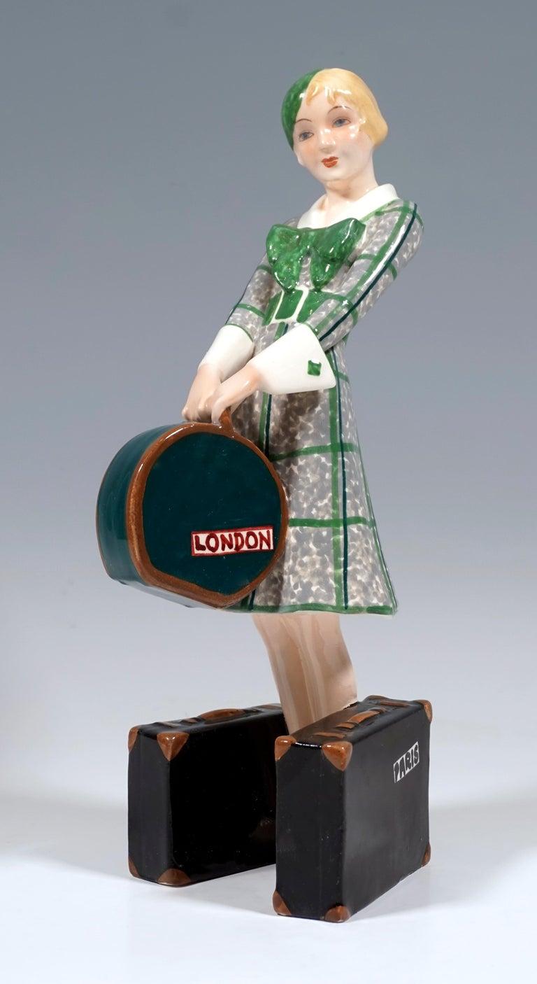 Hand-Crafted Goldscheider Vienna Art Deco Figurine 'Traveler', by Josef Lorenzl, ca 1935