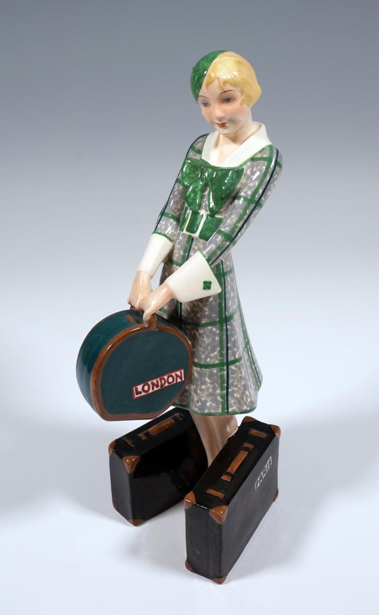 Goldscheider Vienna Art Deco Figurine 'Traveler', by Josef Lorenzl, ca 1935 In Good Condition In Vienna, AT
