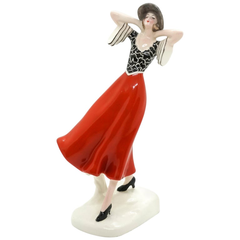 Goldscheider Vienna Art Deco Girl with Hat in the Wind by Stephan Dakon For Sale