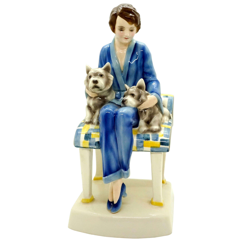 Goldscheider Vienna Ceramics Sitting Lady with Two Dogs by Josef Lorenzl 1930