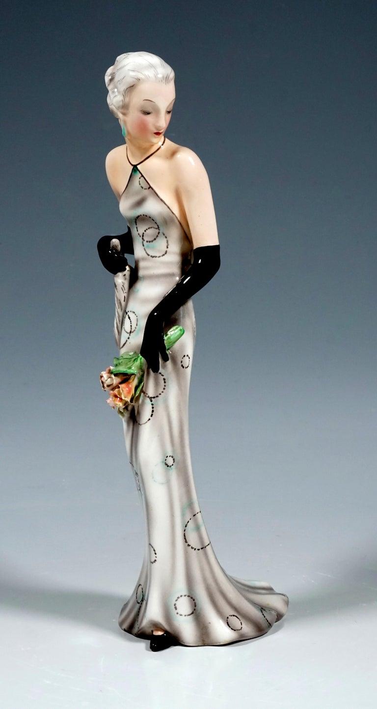 Art Deco Goldscheider Vienna Figurine 'Eveneing Dress' by Josef Lorenzl, circa 1935