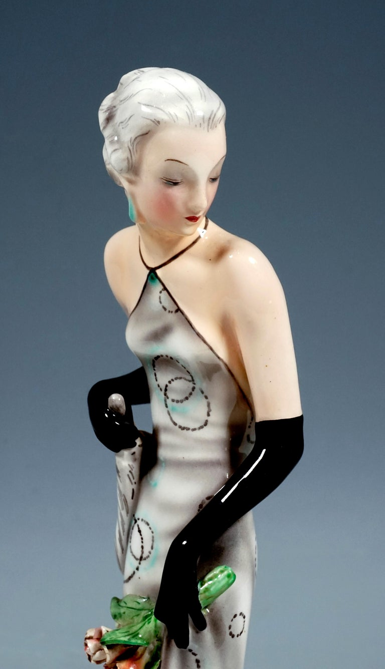 Hand-Crafted Goldscheider Vienna Figurine 'Eveneing Dress' by Josef Lorenzl, circa 1935