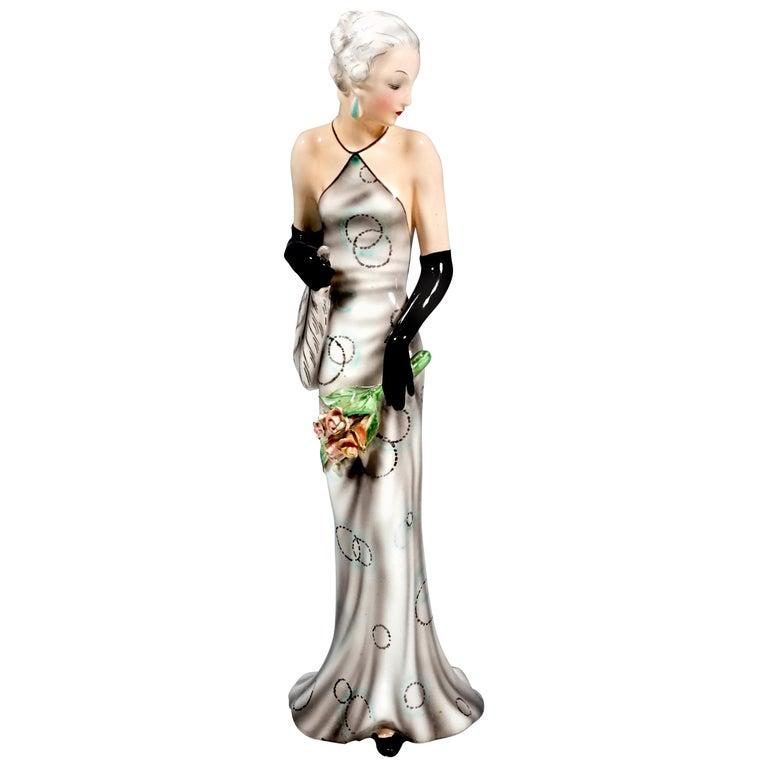 Goldscheider Vienna Figurine 'Eveneing Dress' by Josef Lorenzl, circa 1935