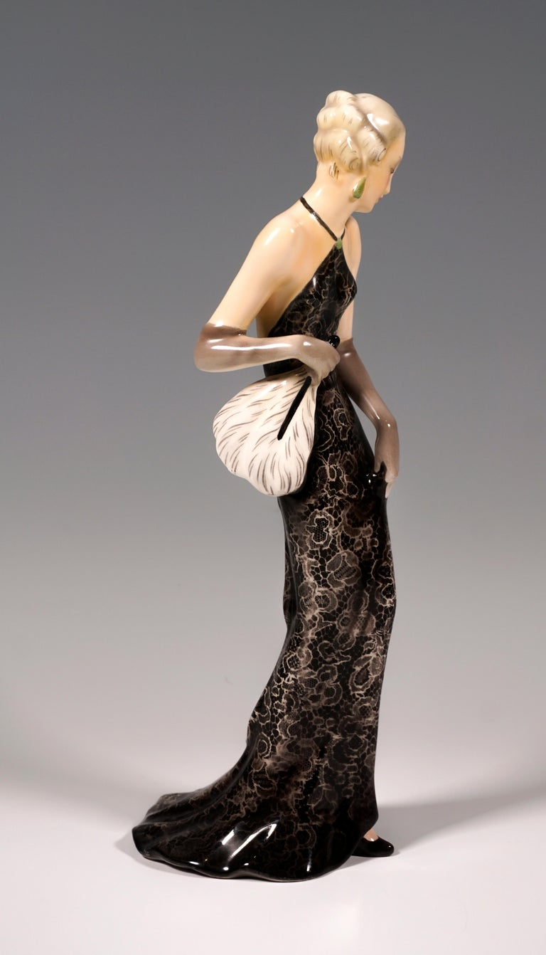Art Deco Goldscheider Vienna Figurine 'Eveneing Dress', by Josef Lorenzl, circa 1935