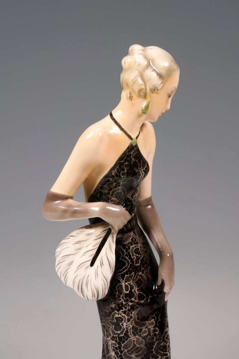 Hand-Painted Goldscheider Vienna Figurine 'Eveneing Dress', by Josef Lorenzl, circa 1935