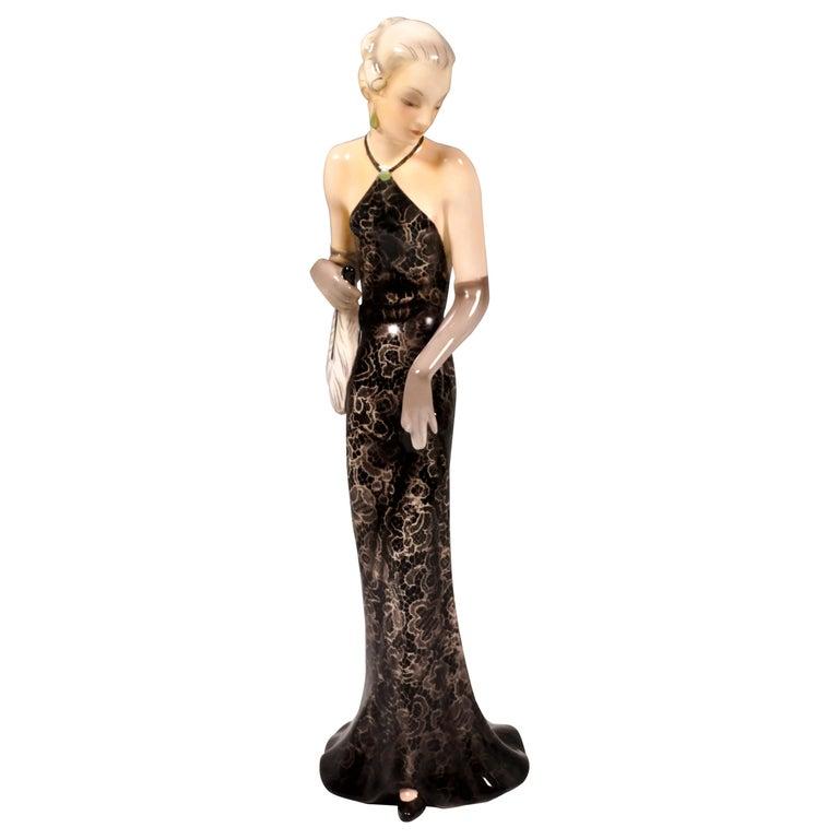 Goldscheider Vienna Figurine 'Eveneing Dress', by Josef Lorenzl, circa 1935