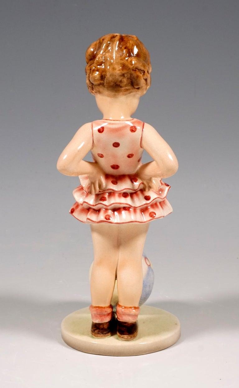 Austrian Goldscheider Vienna Figurine 'Joujou' Girl with Ball by Germaine Bouret, 1936 For Sale