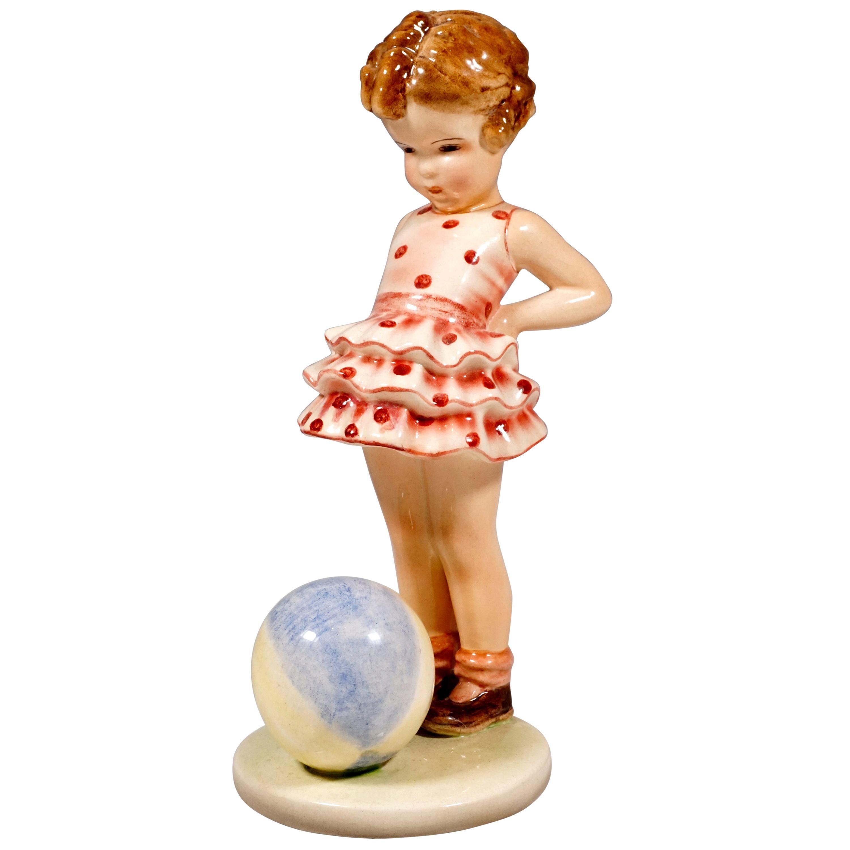 Goldscheider Vienna Figurine 'Joujou' Girl with Ball by Germaine Bouret, 1936