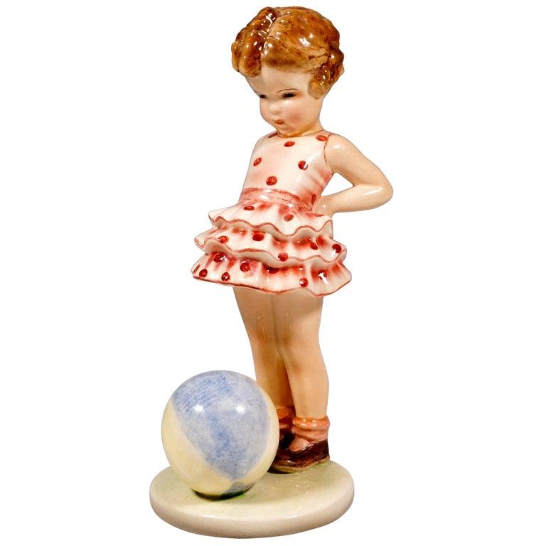 Goldscheider Vienna Figurine 'Joujou' Girl with Ball by Germaine Bouret, 1936 For Sale