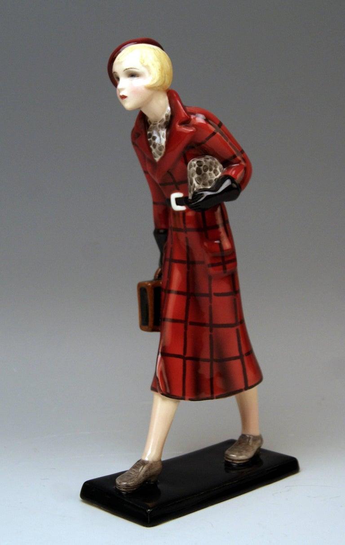 Austrian Goldscheider Vienna Figurine Lady Traveller Lorenzl or Dakon Model 7271 For Sale