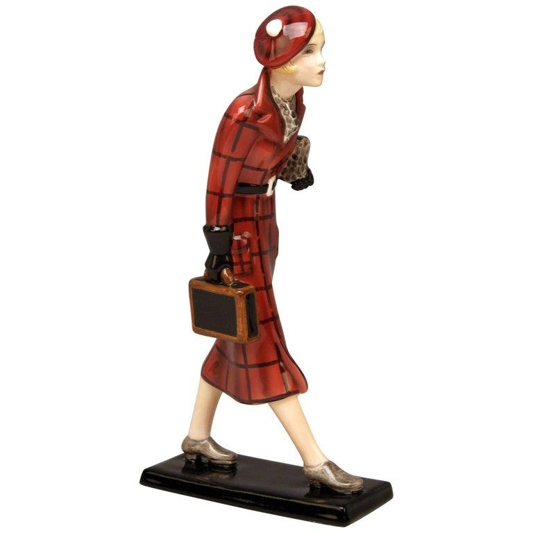 Goldscheider Vienna Figurine Lady Traveller Lorenzl or Dakon Model 7271 For Sale