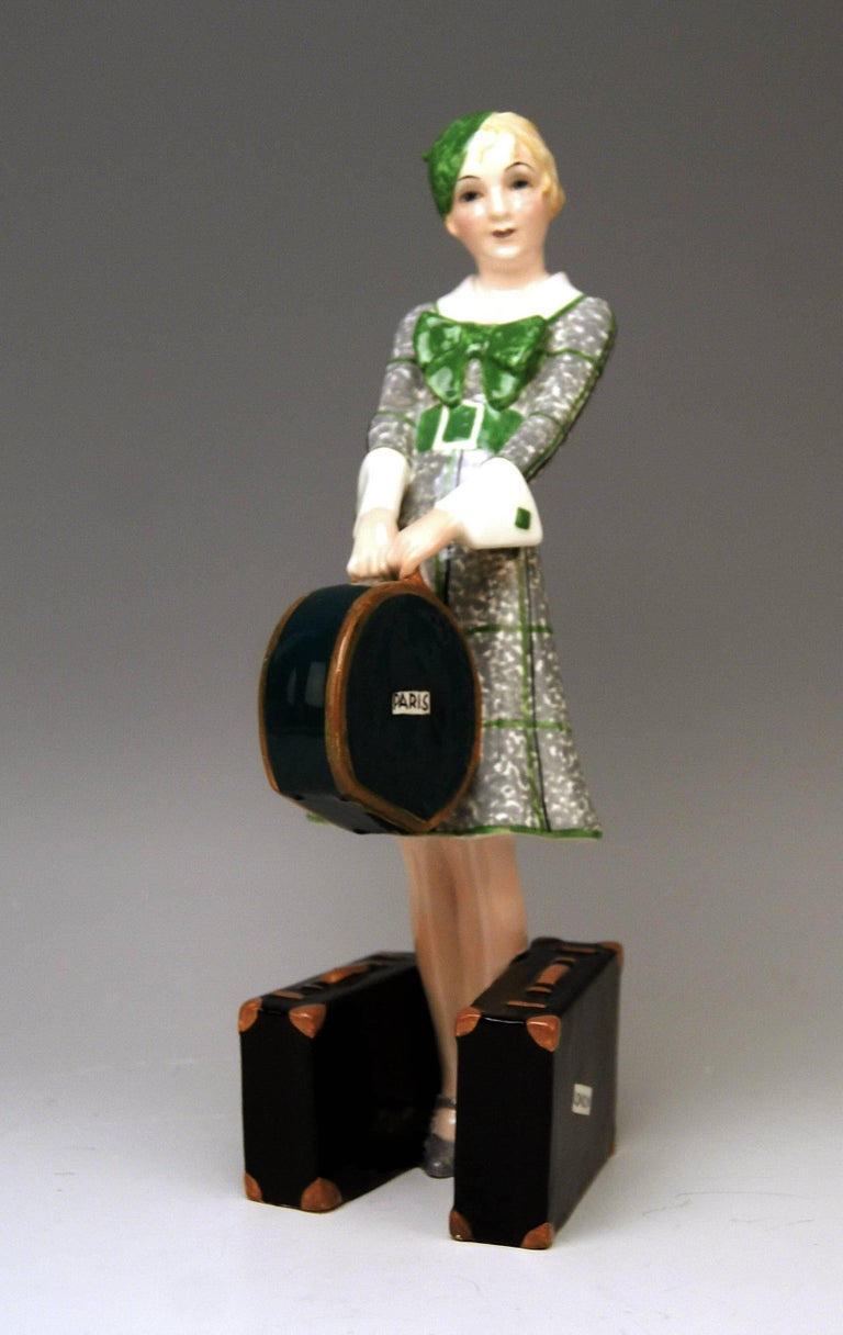 Goldscheider Vienna rare lady figurine: The Traveller.