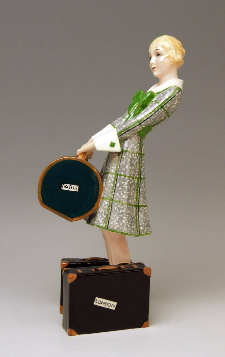 Art Deco Goldscheider Vienna Figurine Lady Traveller Model 7064 Josef Lorenzl For Sale