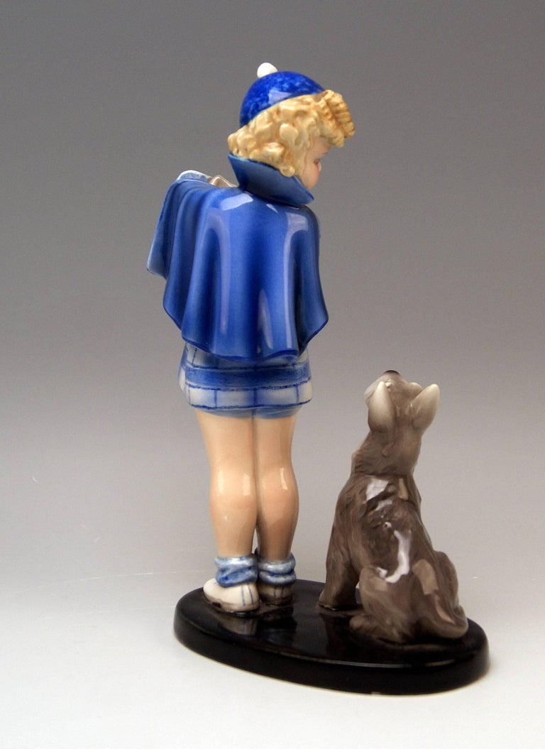 Goldscheider Vienna stunning girl figurine: Girlfigurine accompanied by Scottish Terrier - This Figurine Group is Called: Come With Me!  This model was once created by Germaine BOURET (1907- 1953). Bouret was a French illustrator, having become