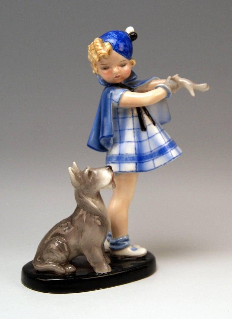 Art Deco Goldscheider Vienna Girl and Dog Germaine Bouret Stephen Dakon Model 7664 For Sale