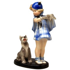 Goldscheider Vienna Girl and Dog Germaine Bouret Stephen Dakon Model 7664
