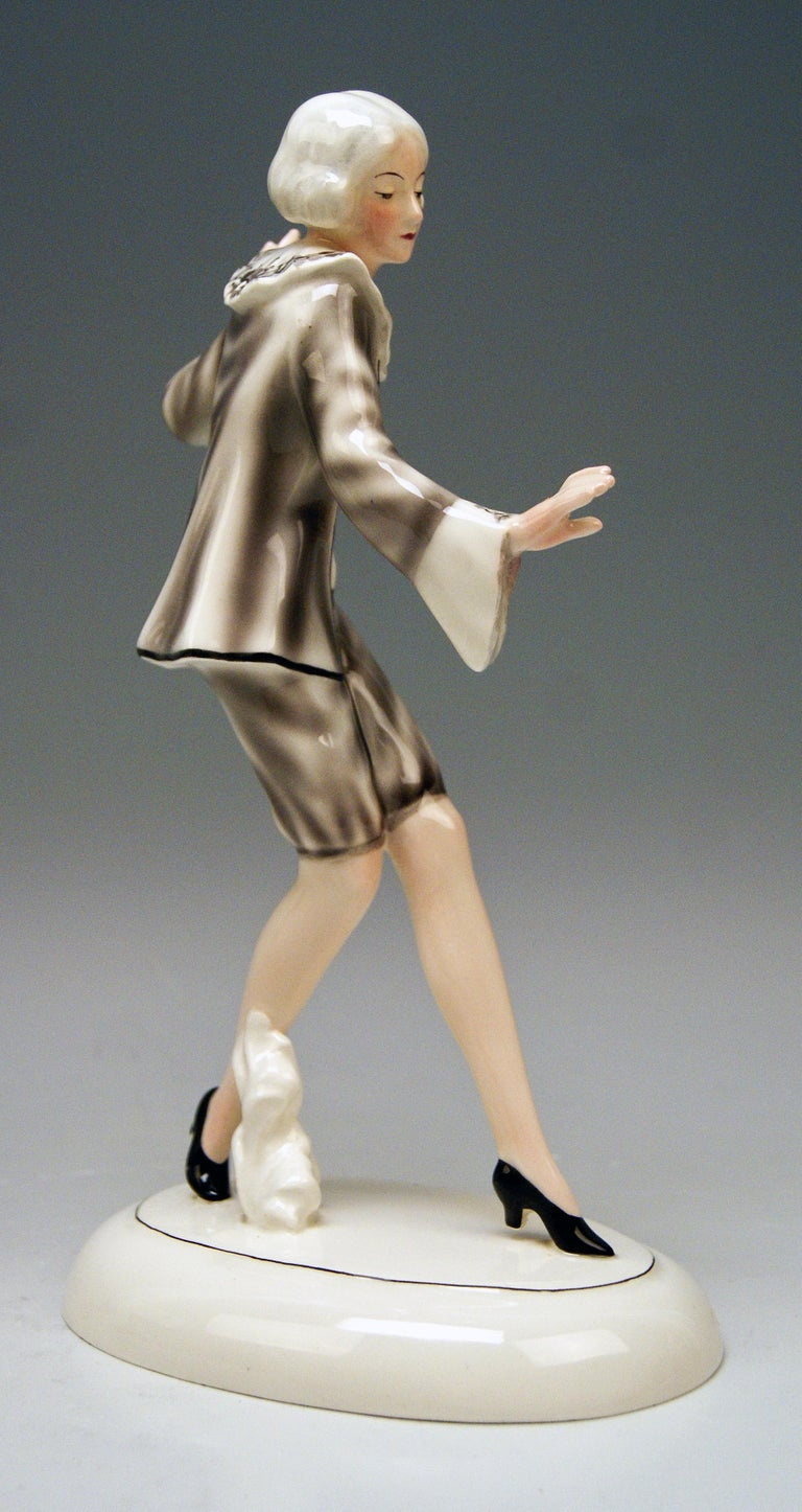 Art Deco Goldscheider Vienna Lady Dancer Clotilde Von Derp Model 6248 Lorenzl, circa 1930 For Sale