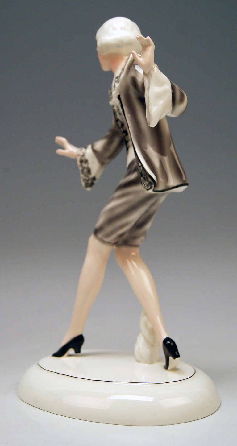 Painted Goldscheider Vienna Lady Dancer Clotilde Von Derp Model 6248 Lorenzl, circa 1930 For Sale