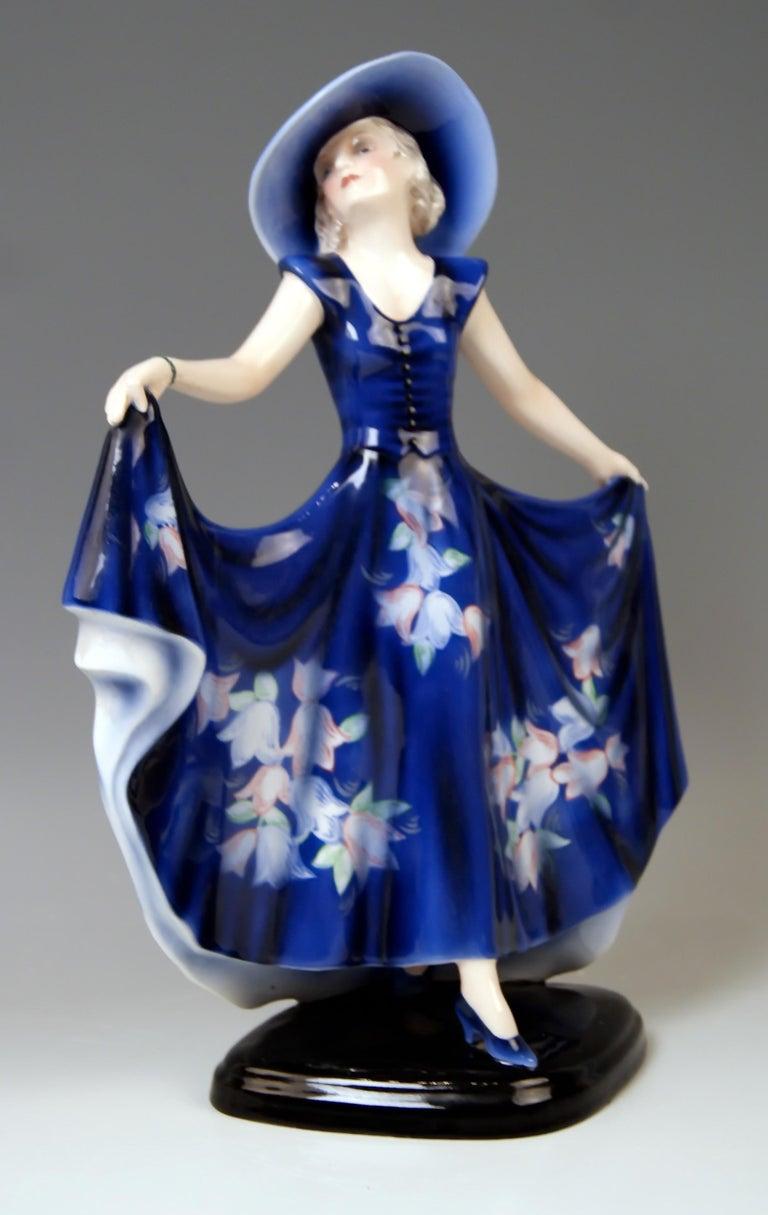 Art Deco Goldscheider Vienna Lady Dancer Liane Wide-Brimmed Hat Model 7581 Lorenzl For Sale
