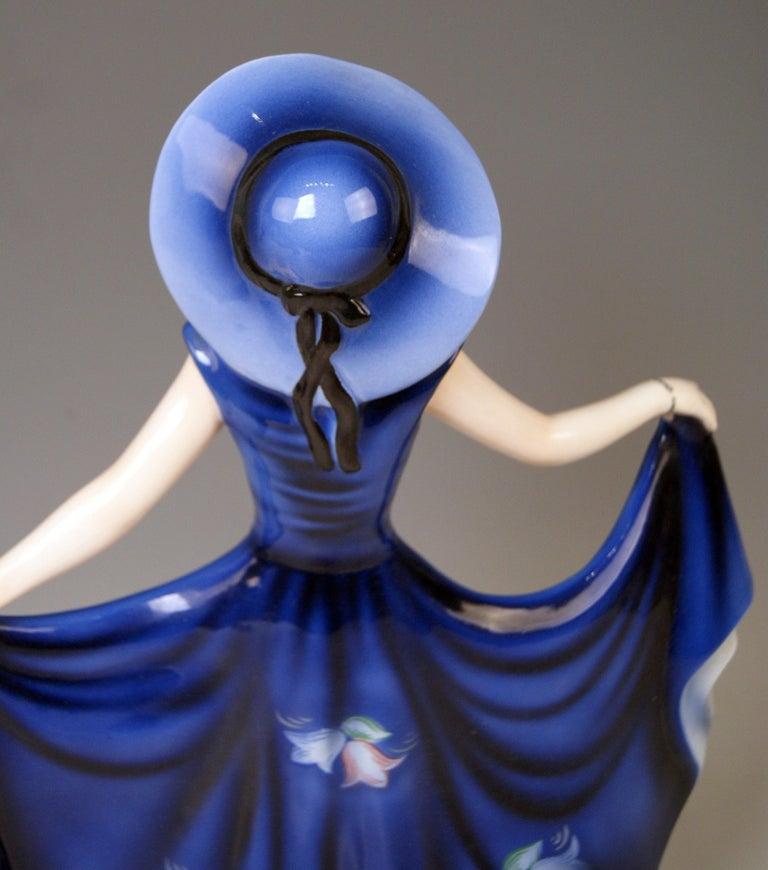 Painted Goldscheider Vienna Lady Dancer Liane Wide-Brimmed Hat Model 7581 Lorenzl For Sale