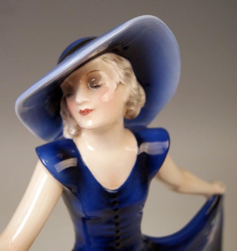 Mid-20th Century Goldscheider Vienna Lady Dancer Liane Wide-Brimmed Hat Model 7581 Lorenzl For Sale