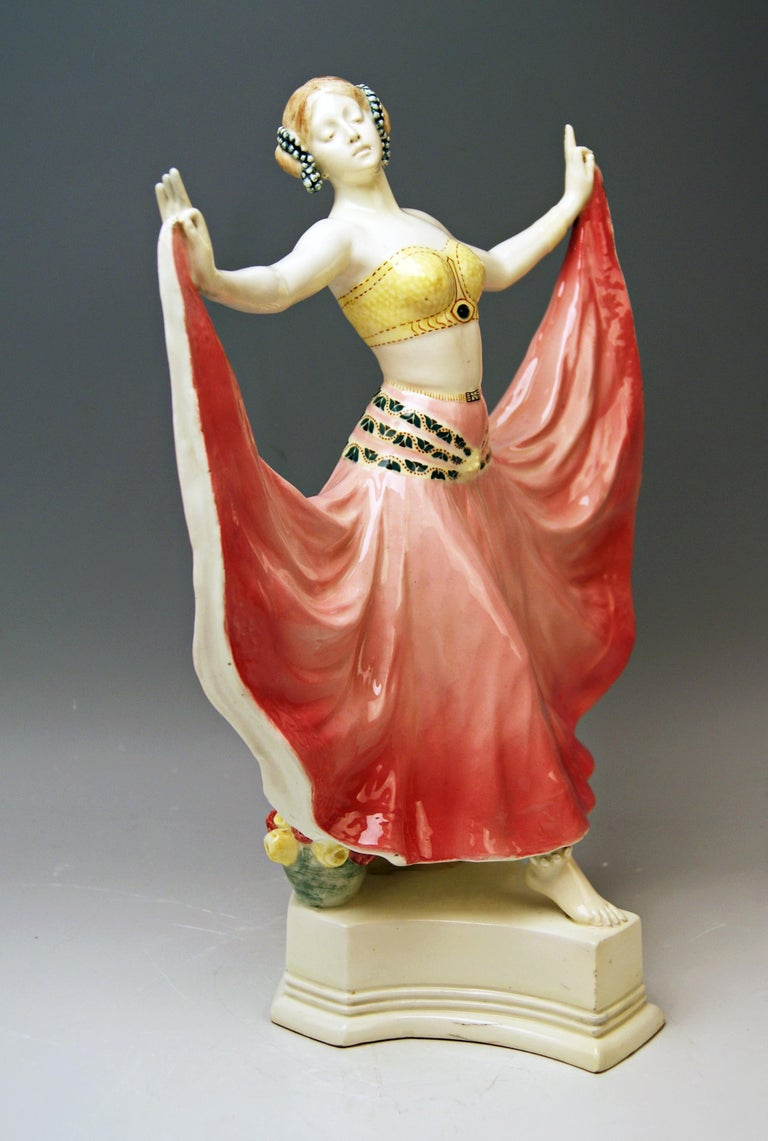 Goldscheider Vienna stunning figurine: Lady dancer called Ruth  Designer: Rosé (Pseudonym / Stanislaus Czapek ?) A very important designer having been active for Goldscheider manufactory in period of 1912-1930 / this pseudonym is visible on many